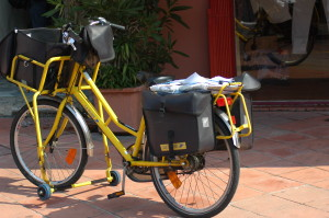 Bicycle used for mail delivery.